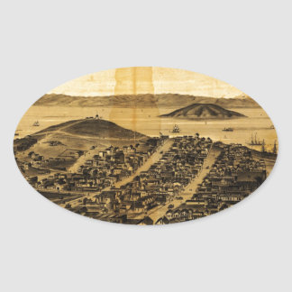 Birdseye of San Francisco from Russian Hill (1862) Oval Sticker