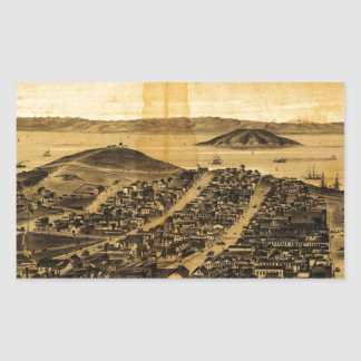 Birdseye of San Francisco from Russian Hill (1862) Rectangular Sticker