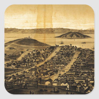Birdseye of San Francisco from Russian Hill (1862) Square Sticker