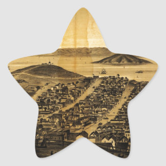 Birdseye of San Francisco from Russian Hill (1862) Star Sticker