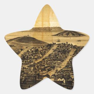 Birdseye of San Francisco from Russian Hill (1862) Star Sticker