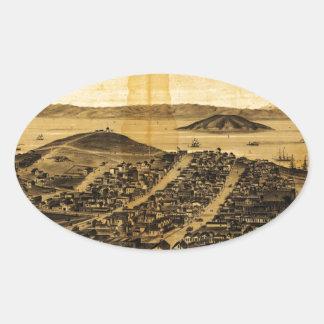 Birdseye of San Francisco from Russian Hill 1862 Oval Stickers