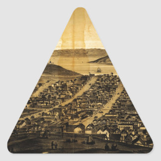 Birdseye of San Francisco from Russian Hill (1862) Triangle Sticker