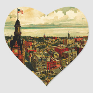 Birdseye Panorama of Milwaukee (1898) Heart Sticker