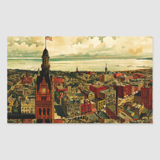 Birdseye Panorama of Milwaukee (1898) Rectangular Sticker