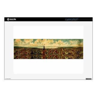 "Birdseye Panorama of Milwaukee (1898) Decals For 15"" Laptops"