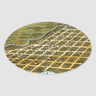 Birdseye view of Austin, Minnesota 1870 Oval Sticker