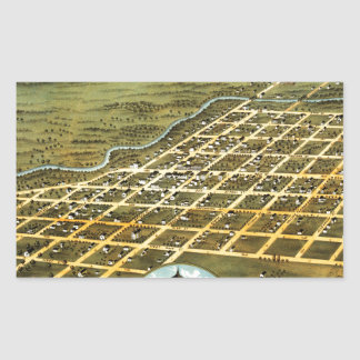 Birdseye view of Austin, Minnesota 1870 Rectangular Sticker