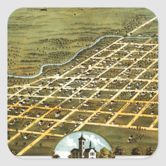 Birdseye view of Austin, Minnesota 1870 Square Sticker