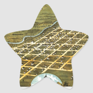Birdseye view of Austin, Minnesota 1870 Star Sticker