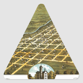Birdseye view of Austin, Minnesota 1870 Triangle Sticker