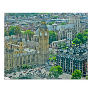 Birdseye View of London Poster