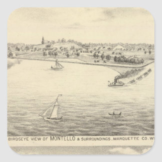 Birdseye view of Montello Square Sticker
