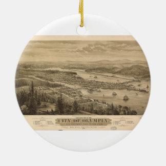 Birdseye view of Olympia, Washington (1879) Ceramic Ornament