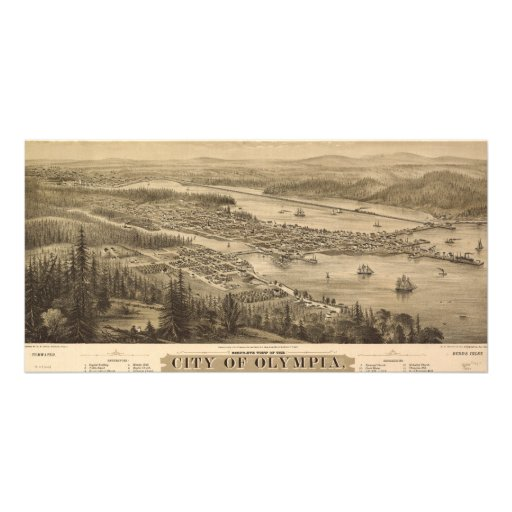 Birdseye view of Olympia, Washington (1879) Custom Photo Card