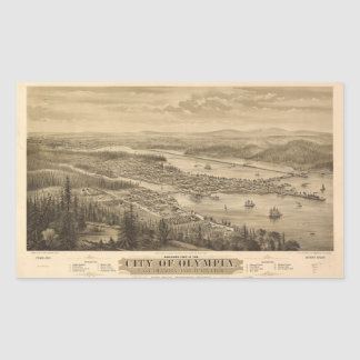 Birdseye view of Olympia, Washington (1879) Rectangular Sticker