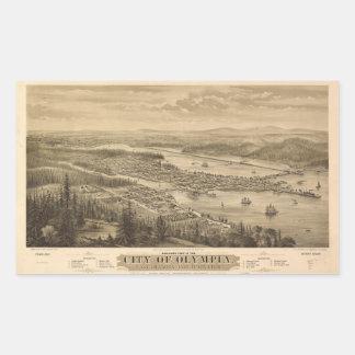 Birdseye view of Olympia, Washington (1879) Rectangular Sticker