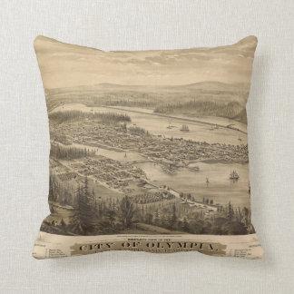 Birdseye view of Olympia, Washington (1879) Throw Pillow