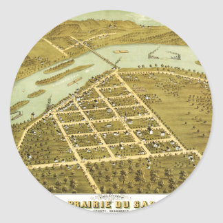 Birdseye view of Prairie du Sac, Wisconsin 1870 Classic Round Sticker