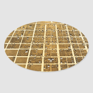 Birdseye view of Urbana, Illinois (1869) Oval Sticker