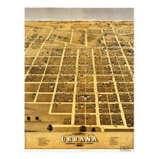 Birdseye view of Urbana, Illinois (1869) Postcard
