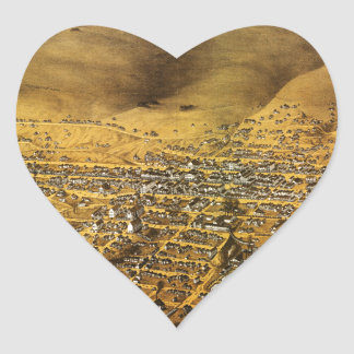 Birdseye view of Virginia City, Nevada (1861) Heart Sticker