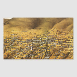 Birdseye view of Virginia City, Nevada (1861) Rectangular Sticker