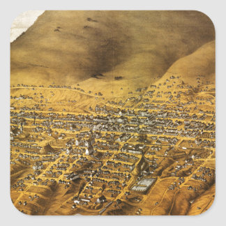 Birdseye view of Virginia City, Nevada (1861) Square Sticker
