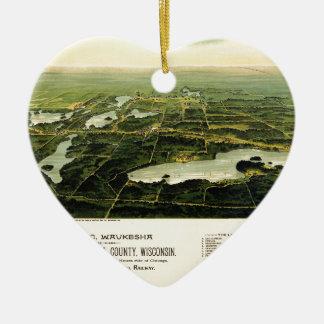 Birdseye view of Waukesha County Wisconsin 1890 Ceramic Ornament