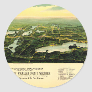 Birdseye view of Waukesha County Wisconsin 1890 Classic Round Sticker