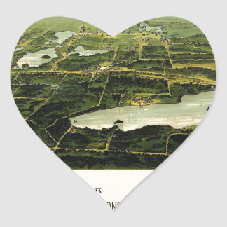 Birdseye view of Waukesha County Wisconsin 1890 Heart Sticker