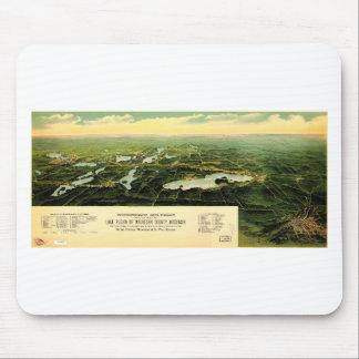 Birdseye view of Waukesha County Wisconsin 1890 Mouse Pad