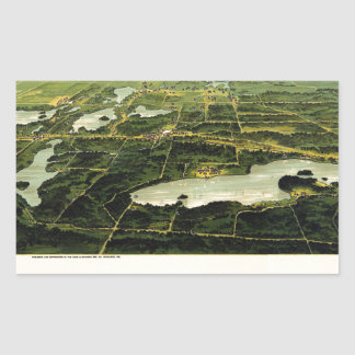 Birdseye view of Waukesha County Wisconsin 1890 Rectangular Sticker