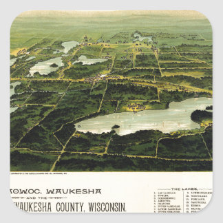 Birdseye view of Waukesha County Wisconsin 1890 Square Sticker