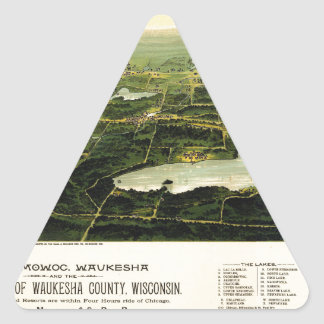 Birdseye view of Waukesha County Wisconsin 1890 Triangle Sticker