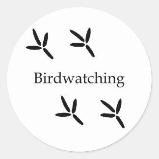 Birdwatching (bird footprints) classic round sticker