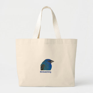 Birdwatching - Indigo Bunting Large Tote Bag