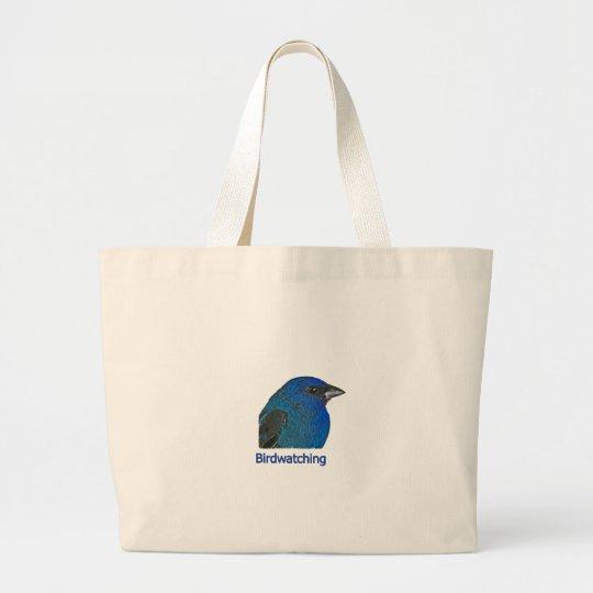 Birdwatching - Indigo Bunting Large Tote Bag