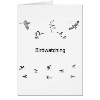 Birdwatching Line Art Greeting Card