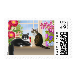 Birdwatching with the Cats Postage