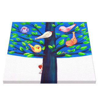 Birdy Tree | Joyful Birds On A Tree Nursery Canvas Print