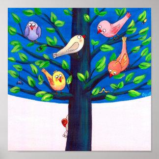 Birdy Tree | Joyful Birds On A Tree Nursery Poster