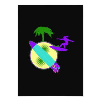 birght pastel surfer girl card