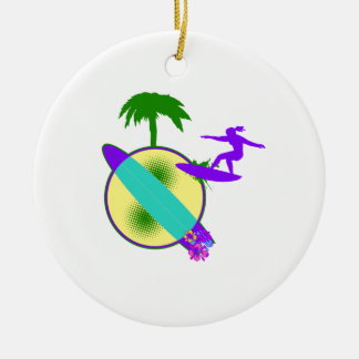 birght pastel surfer girl christmas ornaments