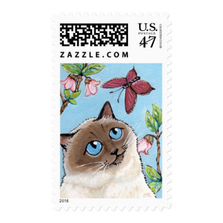 Birman Cat and Butterfly painting Postage