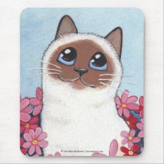 Birman Cat and Pink Flowers Cat Art Mousepad