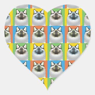 Birman Cat Cartoon Pop-Art Heart Stickers