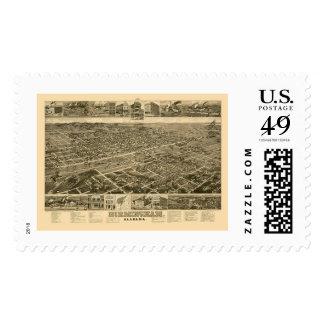 Birmingham, AL Panoramic Map - 1885 Postage Stamps