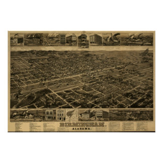 Birmingham, AL Panoramic Map Birds Eye View Poster