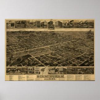 Birmingham, AL Panoramic Map Birds Eye View Poster